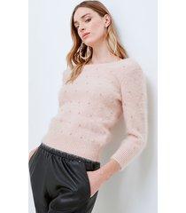 motivi maglia misto angora con strass donna rosa