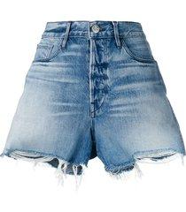 3x1 frayed edges denim shorts - blue