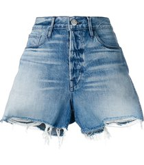 3x1 frayed edges denim shorts - blue