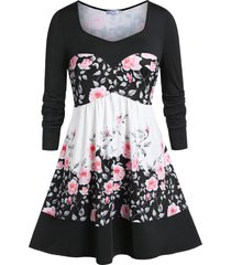 plus size sweetheart neck floral printed peplum t-shirt