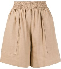 brunello cucinelli wide-leg flared shorts - neutrals