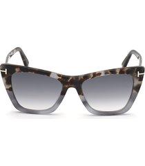 tom ford poppy 53mm cat eye sunglasses in multicolor havana/smoke at nordstrom