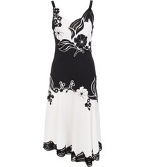 ermanno scervino petticoat midi dress with embroidered floral inlays