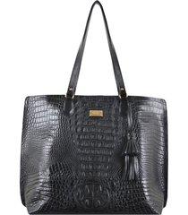 bolsa couro mariart shopping bag preta