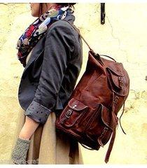 new genuine leather  brown vintage back pack rucksack travel bag men's women's