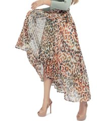guess verity animal-print faux-wrap skirt