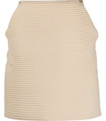 gianfranco ferré pre-owned 2000s ribbed knit skirt - neutrals