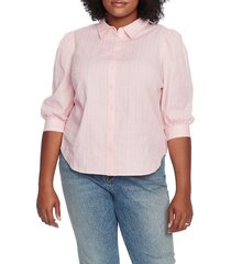 plus size women's court & rowe embroidered gingham cotton button up blouse, size 1x - pink