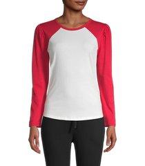 splendid women's raglan-sleeve cotton-blend tee - off white red - size xs