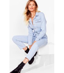 womens pocket what they said belted denim boilersuit - light blue
