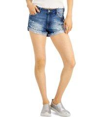 celebrity pink juniors' flipped frayed-hem jean shorts