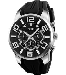 orologio da polso al quarzo da uomo, cinturino in silicone, cinturino in silicone con grande numero di cronografo