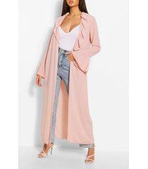 ruffle detail belted maxi kimono, blush