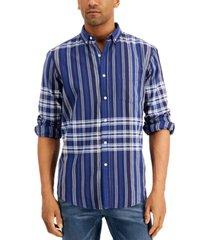club room men's madras plaid long sleeve shirt, created for macy's