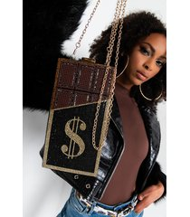 akira bling chocolate money clutch