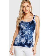 yoins blue tie dye square cuello camiseta de tirantes
