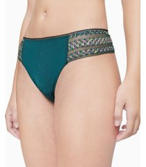 calvin klein women's striped lace thong underwear qf5874