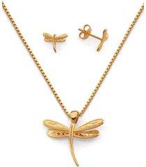 conjunto libélula oro laminado dorado vanité