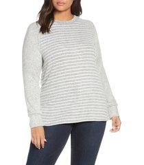 plus size women's loveappella raglan sweater, size 2x - grey