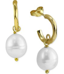 argento vivo freshwater pearl (5-5-1/2mm) huggie hoop dangle drop earrings in 18k gold-plated sterling silver
