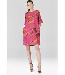 natori tie-dye floral, crepe t-shirt dress, women's, pink, size s natori