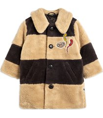 striped faux fur coat jack beige mini rodini