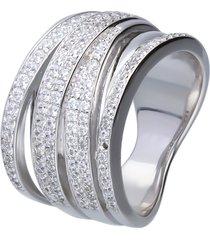 anello in argento a fascia con intrecci in pavé di zirconi per donna