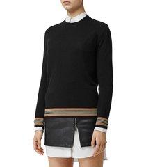 women's burberry stripe trim merino wool sweater