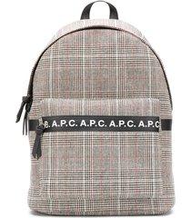 a.p.c. tweed logo backpack - black