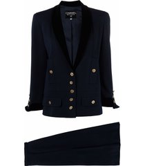 chanel pre-owned 1980s cc-buttons skirt suit - blue