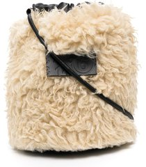 mm6 maison margiela faux-fur bucket bag - neutrals