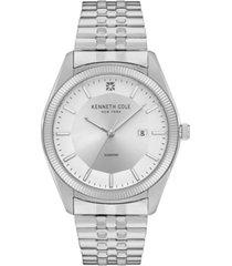 kenneth cole new york men's silver-tone stainless steel bracelet watch, 41mm