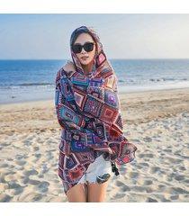 sciarpa all'aperto da spiaggia in cotone e lino con stampa multiuso