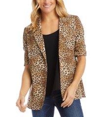 karen kane ruched-sleeve leopard-print blazer
