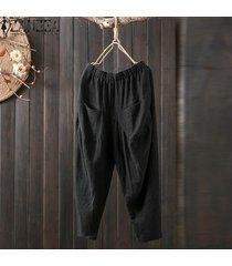 zanzea mujeres algodón básica de lino pantalones elásticos de cintura alta pantalones del harem -negro