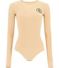 mm6 maison margiela 6 logo jersey bodysuit