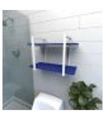 prateleira industrial para banheiro aço branco prateleiras 30cm azul escuro modelo indb02azb