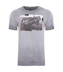 camiseta masculina manga curta car - cinza