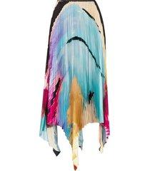 marques'almeida paul morrow graphic-print pleated skirt - blue