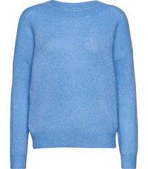 femme mohair o pullover stickad tröja blå moss copenhagen