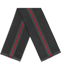 gucci gg jacquard knit scarf with web and fringe - grey
