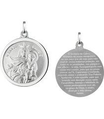 pingente nossa senhora do carmo redonda em prata 925