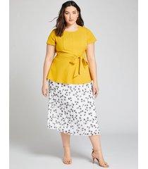 lane bryant women's pleated chiffon midi skirt 10/12 white & black floral