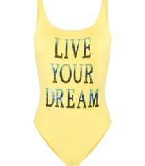 alberta ferretti sequin slogan swimsuit - yellow