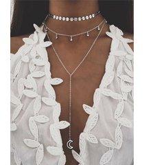 collar de múltiples capas de lentejuelas de color plateado luna de diamantes de imitación