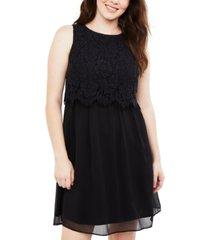 motherhood maternity tiered lace nursing dress