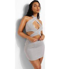 gerecyclede jurk met naaddetail en uitsnijding, grey