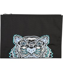 kenzo embroidered nylon pouch