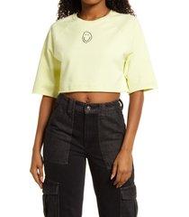 women's bp. organic cotton crop sweatshirt, size small - green