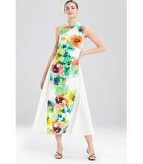 ophelia printed cdc dress, women's, white, cotton, size 4, josie natori